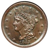 1855 C-1 NGC MINT STATE 62 BN BRAIDED HAIR HALF CENT COIN 1/2C
