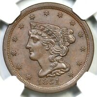 1851 C-1 NGC MINT STATE 63 BN BRAIDED HAIR HALF CENT COIN 1/2C
