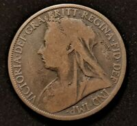 1899 GREAT BRITAIN 1 PENNY QUEEN VICTORIA OLD COIN