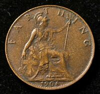 1906 GREAT BRITAIN FARTHING OLD COIN