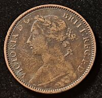 1891 GREAT BRITAIN FARTHING QUEEN VICTORIA OLD COIN
