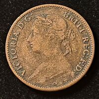 1886 GREAT BRITAIN FARTHING QUEEN VICTORIA OLD COIN