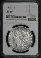 1892 MORGAN SILVER DOLLAR  NGC AU55  LUSTEROUS BETTER DATE