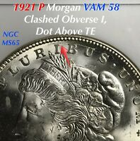1921 P MORGAN SILVER DOLLAR VAM 58 CLASHED OBVERSE I, DOT ABOVE TE NGC MINT STATE 65 FINE