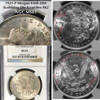 1921 P MORGAN DOLLAR VAM-3DA SCRIBBLING DIE SCRATCHES 62 NGC MINT STATE 65 FINEST LISTED