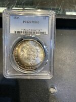 1885 MORGAN DOLLAR  PCGS MINT STATE 62 BRIGHT COLORFUL CRESCENT TONE BOTH SIDES
