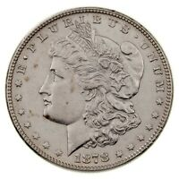 1878 7/8 TAIL FEATHERS $1 SILVER MORGAN DOLLAR IN AU CONDITION, NEARLY ALL WHITE