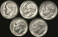 5  1957 ROOSEVELT DIMES  UNCIRCULATED 90  SILVER