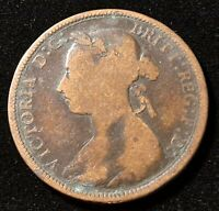 1891 GREAT BRITAIN 1/2 PENNY QUEEN VICTORIA OLD COIN