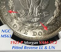 1921 P MORGAN VAM 3C2 PITTED REVERSE LL & UN, HOT 50, NGC MINT STATE 63