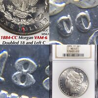 1884-CC MORGAN VAM-6 DOUBLED 18 AND LEFT C, NGC MINT STATE 63, FINEST & ONLY ONE LISTED