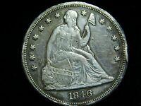 1846 SEATED LIBERTY SILVER DOLLAR $1   AU DETAILS  RARE EARL