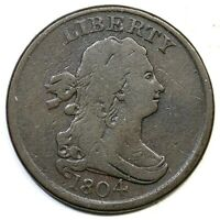 1804 C-1 R-3 CROSSLET 4, STEMS DRAPED BUST HALF CENT COIN 1/2C