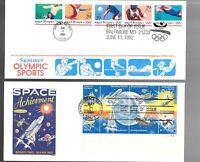 US FDC FIRST DAY COVERS  COLLECTION  LOT OF 10 WITH COMBO OR