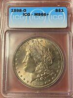1898-O MORGAN SILVER DOLLAR ICG MINT STATE 66  TONED GREAT EYE APPEAL