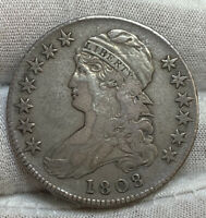 1808 CAPPED BUST HALF DOLLAR O-107A R.2 SOLID GRADE  DETAIL