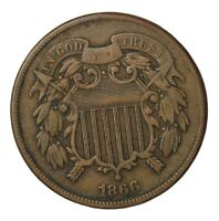 1866 TWO CENT PIECE 2C UNITED STATES COIN KM94