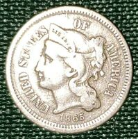 1865 3-CENT NICKEL; VG,  GOOD; CIVIL WAR COIN; SEE PICS; 156 YEARS OLD