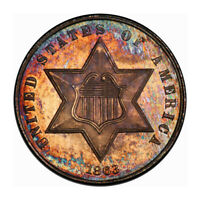 1863 3CS THREE CENT SILVER PCGS MINT STATE 66 CAC 3204-2 COLOR