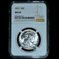 1937-P WALKING LIBERTY HALF DOLLAR  NGC MINT STATE 64  50C UNCIRCULATED 012 TRUSTED