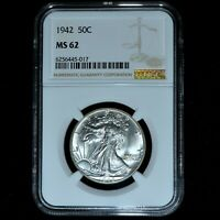 1942-P WALKING LIBERTY HALF DOLLAR  NGC MINT STATE 62  50C UNCIRCULATED 017 TRUSTED