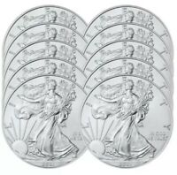 LOT OF 10 - 2018 1 OZ .999 AMERICAN SILVER EAGLE $1 COINS