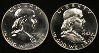 LOT OF 2 PROOF SILVER FRANKLIN HALF DOLLARS 1961 AND 1962