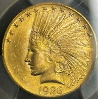 1926 INDIAN HEAD GOLD $10 EAGLE PCGS MS62. CLEAN SURFACES. F