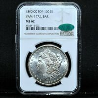 1890-CC $1 MORGAN SILVER DOLLAR  NGC MINT STATE 62 CAC VAM 4 TAIL BAR TOP 100TRUSTED