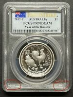 2017 AUSTRALIA LUNAR YEAR OF ROOSTER HIGH RELIEF PROOF SILVE
