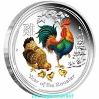 AUSTRALIA 2017 YEAR OF THE ROOSTER CHINESE LUNAR 1 OZ SILVER