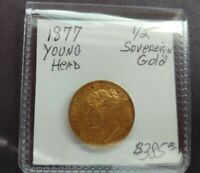 1877 GREAT BRITAIN HALF SOVEREIGN GOLD COIN VICTORIA YOUNG H