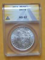 1897 P MORGAN SILVER DOLLAR, ANACS MINT STATE 62, BEAUTIFUL HIGH LUSTER COIN, LOW MINTAGE