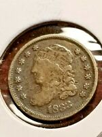 1833 CAPPED BUST SILVER HALF DIME FULL BOLD LIBERTY      INV08     D8106