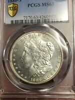 PCGS MINT STATE 63 1886 S MORCAN DOLLAR  DATE BLAST WHITE