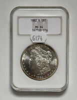 1882 S MORGAN SILVER DOLLAR $1 MINT STATE 64 NGC