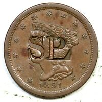 1851 COUNTER STAMPED SPL BRAIDED HAIR HALF CENT COIN 1/2C
