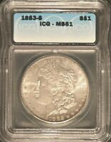 1883-S MORGAN SILVER DOLLAR - ICG MINT STATE 61 - 37367  SHIPS FREE
