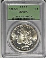 1880-S $1 PCGS MINT STATE 65 PL OGH GEM UNCIRCULATED UNC PROOF LIKE MORGAN DOLLAR COIN