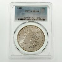 1896 $1 SILVER MORGAN DOLLAR GRADED BY PCGS AS MINT STATE 64 GORGEOUS COIN