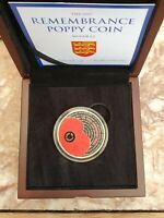2017 JERSEY SILVER PROOF WE WILL REMEMBER THEM COLOURED POPP