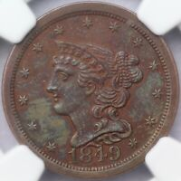 1849 LARGE DATE 1/2C BRAIDED HAIR HALF CENT C-1 NGC MINT STATE 62 BN