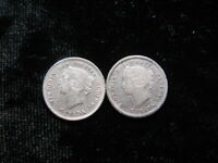 2 SMALL OLD WORLD SILVER COIN LOT CANADA 5 CENTS 1880 1888 K
