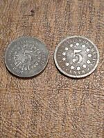 1866-1867 SHIELD NICKEL 5 CENT PIECE- WITH N WITHOUT RAYS
