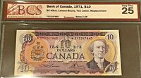 1971 BANK OF CANADA $10  TWO LETTER REPLACEMENT NOTE   VF 25