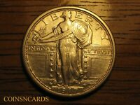 1917 D TYPE 1 STANDING LIBERTY QUARTER ABOUT UNCIRCULATED AU