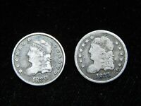1830 & 1833 CAPPED BUST HALF DIME
