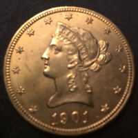 1901 $10 GOLD LIBERTY EAGLE US TEN DOLLAR COIN UNITED STATES