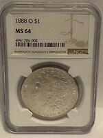 1888-O MINT STATE 64 MORGAN SILVER DOLLAR NGC CERTIFIED GEM BRIGHT WHITE BEAUTIFUL $1