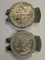 LOT OF 2 1879 MORGAN SILVER DOLLARS $1 IN STERLING SILVER MONEY CLIPS
